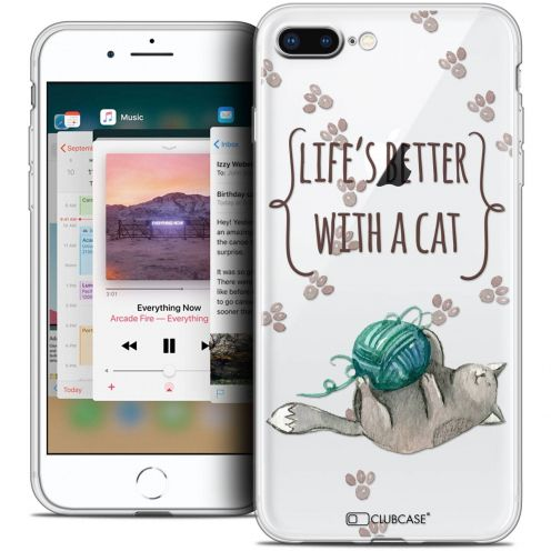 "Carcasa Crystal Gel Extra Fina Apple iPhone 7 Plus (5.5"") Quote Life's Better With a Cat"