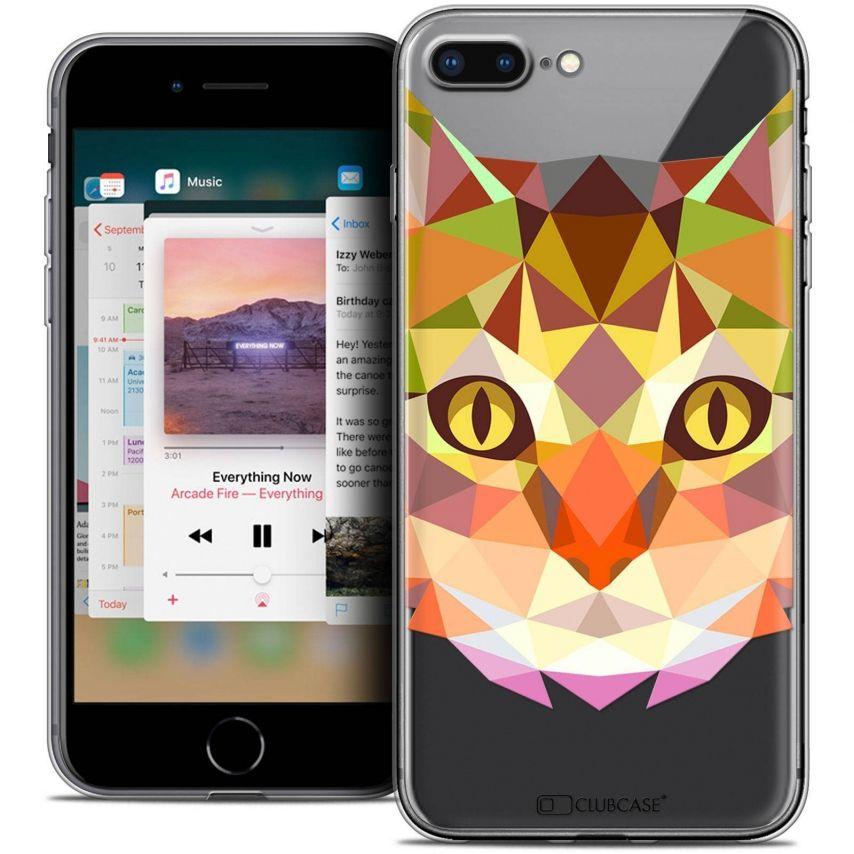 "Carcasa Crystal Gel Extra Fina Apple iPhone 7 Plus (5.5"") Polygon Animals Gato"