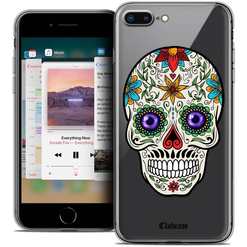 "Carcasa Crystal Gel Extra Fina Apple iPhone 7 Plus (5.5"") Skull Maria's Flower"
