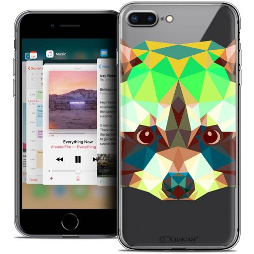 "Carcasa Crystal Gel Extra Fina Apple iPhone 7 Plus (5.5"") Polygon Animals Mapache"
