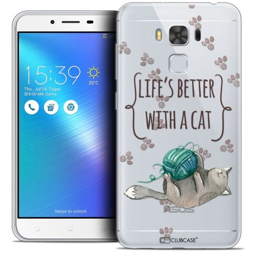 "Carcasa Crystal Gel Extra Fina Asus Zenfone 3 Max Plus ZC553KL (5.5"") Quote Life's Better With a Cat"