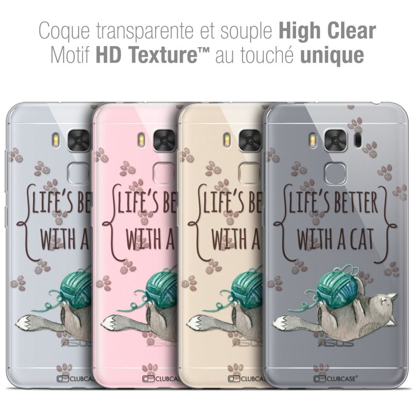 """Carcasa Crystal Gel Extra Fina Asus Zenfone 3 Max Plus ZC553KL (5.5"""") Quote Life's Better With a Cat"""