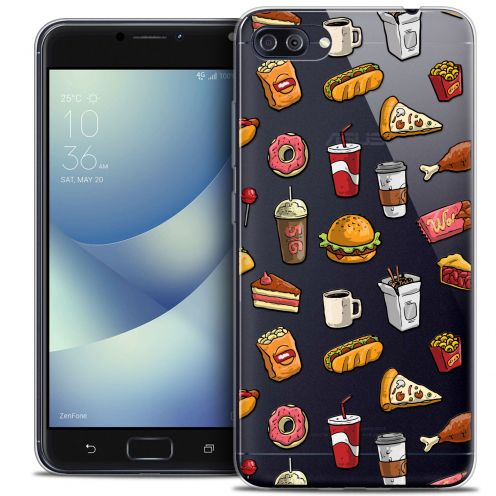 "Carcasa Crystal Gel Extra Fina Asus Zenfone 4 MAX PLUS / Pro ZC554KL (5.5"") Foodie Fast Food"