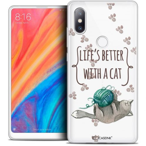 """Carcasa Crystal Gel Extra Fina Xiaomi Mi Mix 2S (5.99"""") Quote Life's Better With a Cat"""