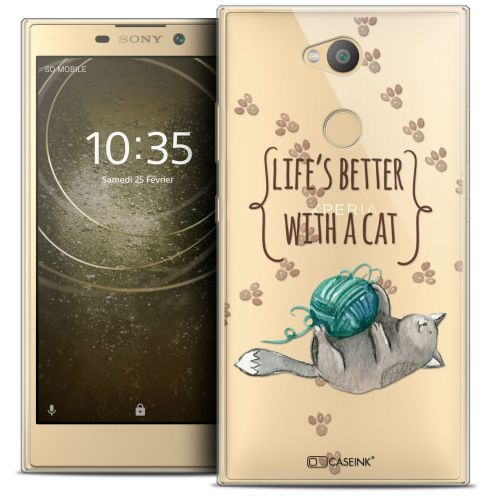 """Carcasa Crystal Gel Extra Fina Sony Xperia L2 (5.5"""") Quote Life's Better With a Cat"""