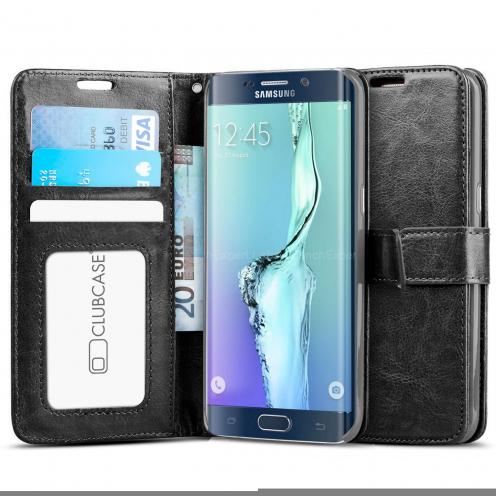 Funda Portafolio Samsung Galaxy S6 Edge+ / Plus de cuero sintético Retro Negro