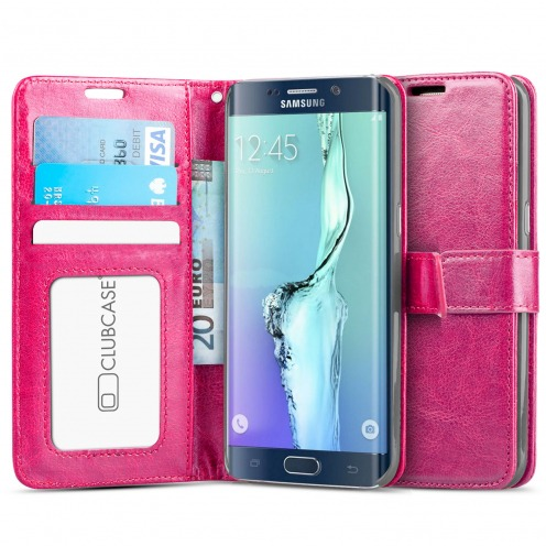 Funda Portafolio Samsung Galaxy S6 Edge+ / Plus de cuero sintético Retro Rosa