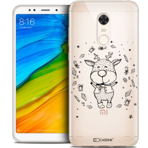 "Carcasa Crystal Gel Extra Fina Xiaomi Redmi 5 Plus (6"") Noël 2017 Sketchy Cerf"