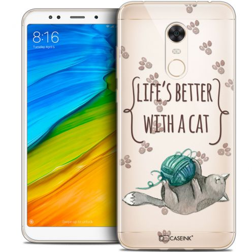 "Carcasa Crystal Gel Extra Fina Xiaomi Redmi 5 Plus (6"") Quote Life's Better With a Cat"