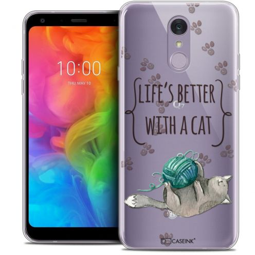 "Carcasa Crystal Gel Extra Fina LG Q7 (5.5"") Quote Life's Better With a Cat"