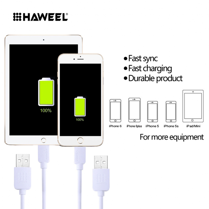 Cable USB de 8 pines Haweel® Fast Charge Series - iOS 8/9 - 1m - Blanco