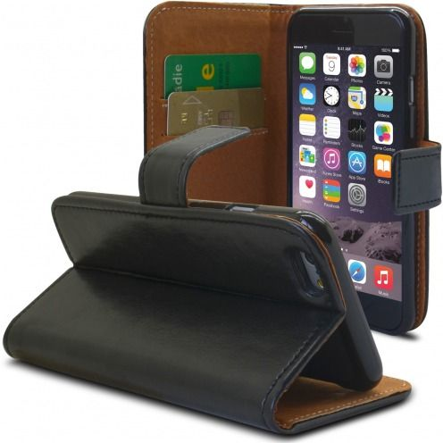 Funda Italia Folio para Apple iPhone 6 Plus / 6s Plus Cuero Auténtico Negro
