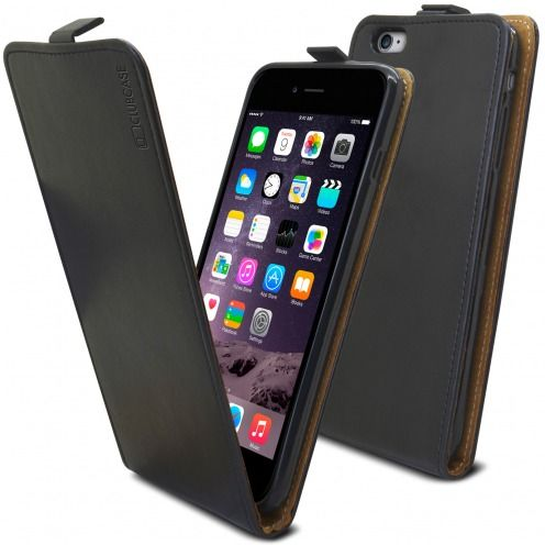 Funda Italia Flip para Apple iPhone 6 Plus / 6s Plus Cuero Auténtico Negro
