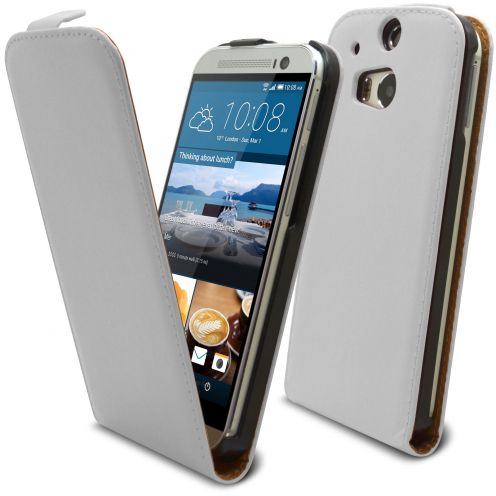 Funda Flip para HTC One M8 Cuero Eco Blanco