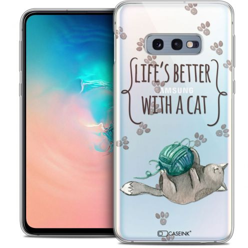"""Carcasa Crystal Gel Extra Fina Samsung Galaxy S10e (5.8"""") Quote Life's Better With a Cat"""