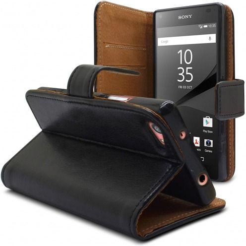 Funda Italia Foliopara Sony Xperia Z5 Compact Cuero AuténticoNegro