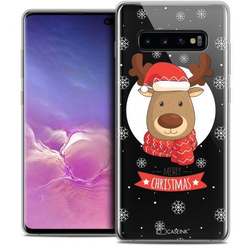 "Carcasa Crystal Gel Extra Fina Samsung Galaxy S10+ (6.4"") Noël 2017 Cerf à Echarpe"