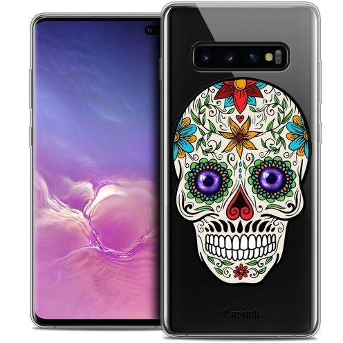 "Carcasa Crystal Gel Extra Fina Samsung Galaxy S10+ (6.4"") Skull Maria's Flower"