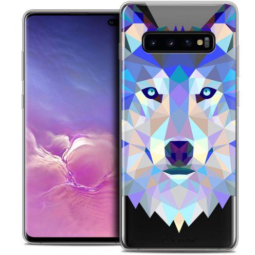 "Carcasa Crystal Gel Extra Fina Samsung Galaxy S10+ (6.4"") Polygon Animals Lobo"