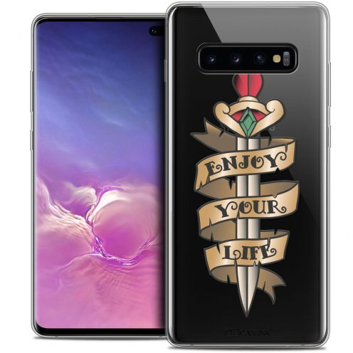 "Carcasa Crystal Gel Extra Fina Samsung Galaxy S10+ (6.4"") Tatoo Lover Enjoy Life"