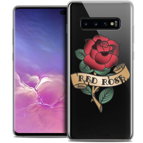 "Carcasa Crystal Gel Extra Fina Samsung Galaxy S10+ (6.4"") Tatoo Lover Red Rose"
