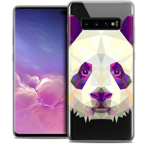 "Carcasa Crystal Gel Extra Fina Samsung Galaxy S10+ (6.4"") Polygon Animals Panda"