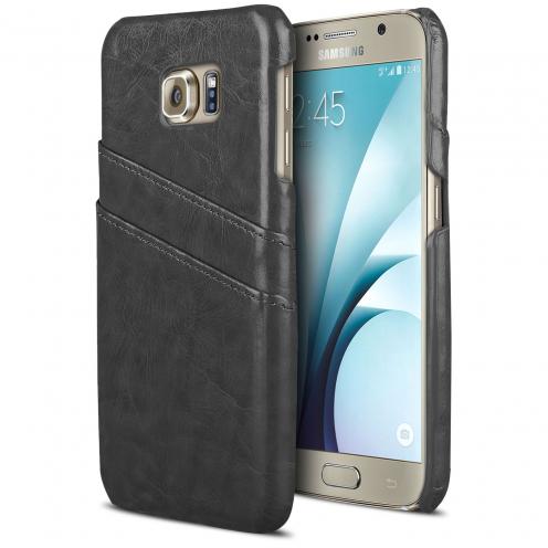 Carcasa Galaxy S6 Leather Business Extra Fina Con ranura para tarjetas Negro
