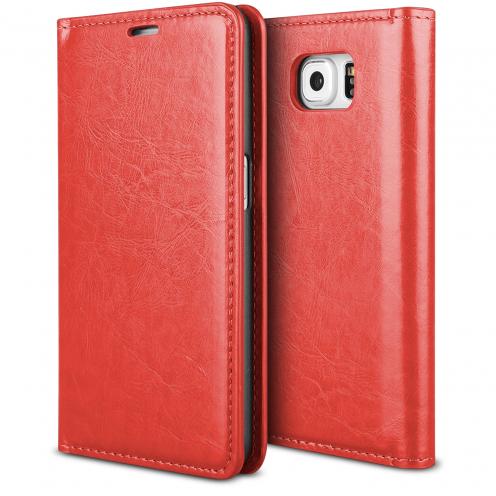 Funda FolioProSkin Smart MagnetRoja para Samsung Galaxy S6 Edge