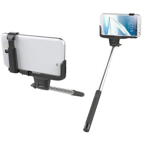 Monopod Autofoto SelfieStick Bluetooth universal 20-100 cm Negro