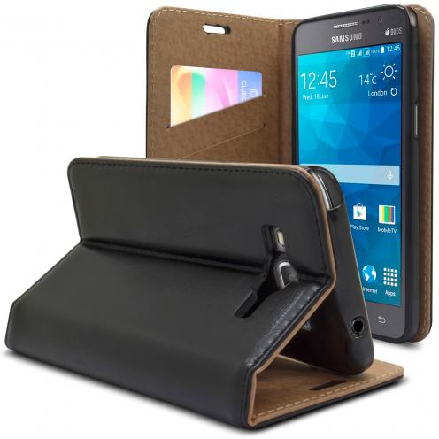 Funda Blun Folio Samsung Galaxy Grand Prime Cuero AuténticoSmartMagnet Negro