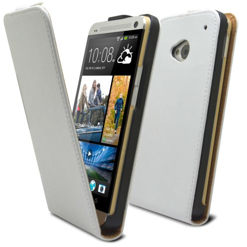 Funda Flip para HTC One M7 Cuero Eco Blanco