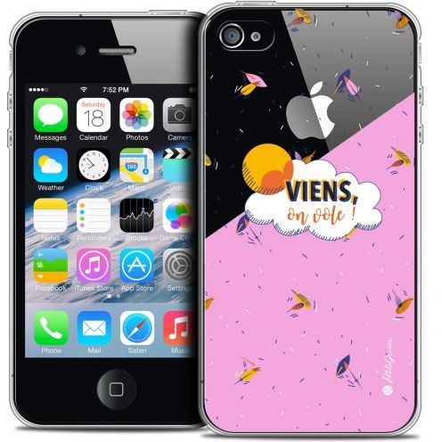 Carcasa Crystal Extra Fina iPhone 4/4s Petits Grains® VIENS, On Vole !