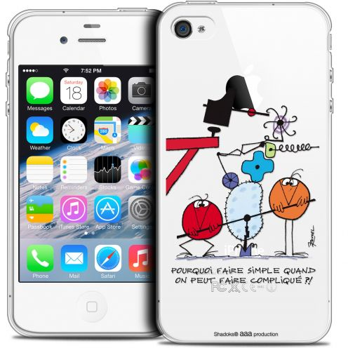 Carcasa Crystal Extra Fina iPhone 4/4s Les Shadoks® Pourquoi faire Simple