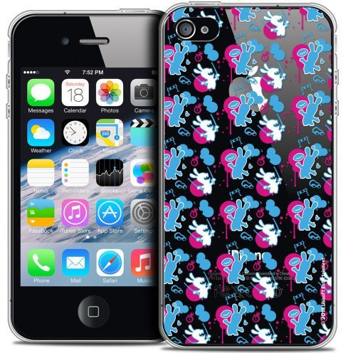 Carcasa Crystal iPhone 4/4s Lapins Crétins™ Rugby Pattern