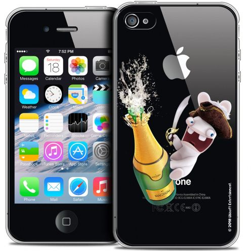 Carcasa Crystal iPhone 4/4s Lapins Crétins™ Champagne !