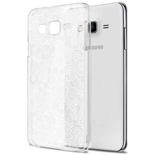 Carcasa Crystal Extra Fina Galaxy J5 (J500) Colección Encaje de Flores - Blanco