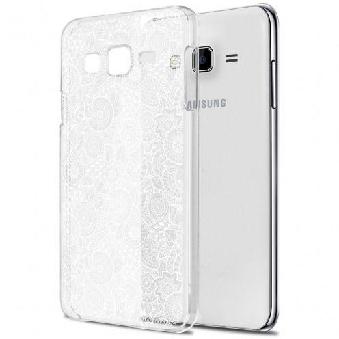 Carcasa Crystal Extra Fina Galaxy J7 (J700) Colección Encaje de Flores - Blanco