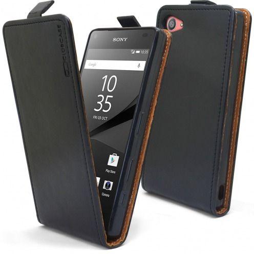 Funda Italia Flippara Sony Xperia Z5 Compact Cuero AuténticoNegro