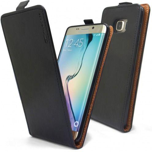 Funda Italia Flippara Samsung Galaxy S6 Edge +/Plus Cuero AuténticoNegro