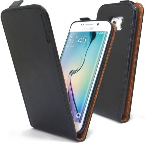 Funda Italia Flippara Samsung Galaxy S6 Edge Cuero AuténticoNegro