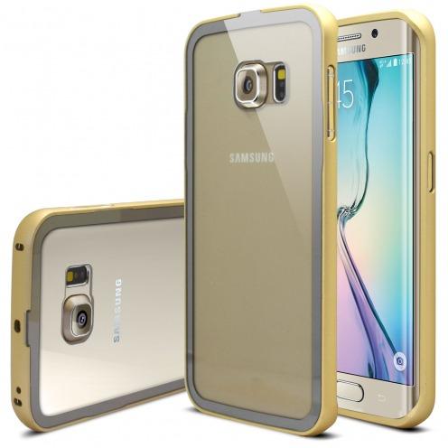 Bumper Samsung Galaxy S6 Edge +/Plus Aluminium y Ventana Oro