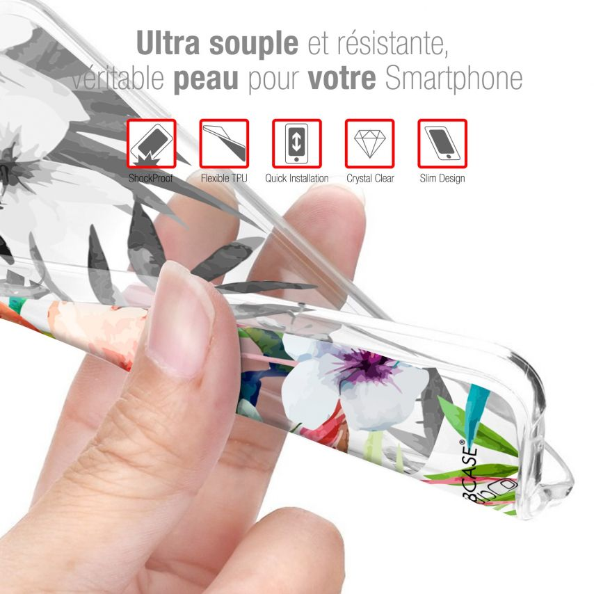 "Carcasa Gel Extra Fina Xiaomi Redmi Note 7 (6.3"") Dentelle Florale Blanc"