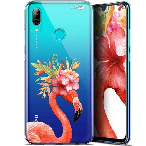 "Carcasa Crystal Gel Extra Fina Huawei P Smart 2019 (6.21"") Design Flamant Rose Fleuri"