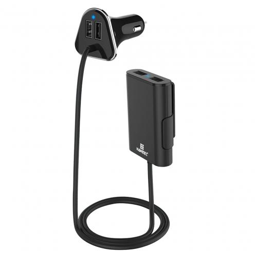 Cargador de coche Haweel® Passenger 4x USB 2.4A - 9.6A con Hub USB remoto