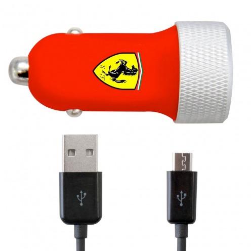 Cargador de coche Ferrari® Roja 2xUSB 2.1A 12/24V con micro USB