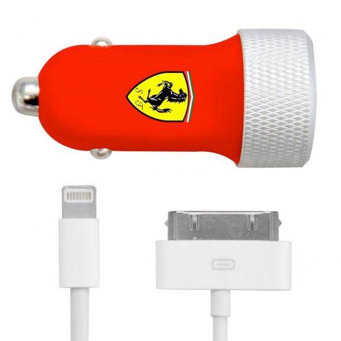 Cargador de coche Ferrari® Roja 2xUSB 2.1A 12/24V con 2 cable iPhone