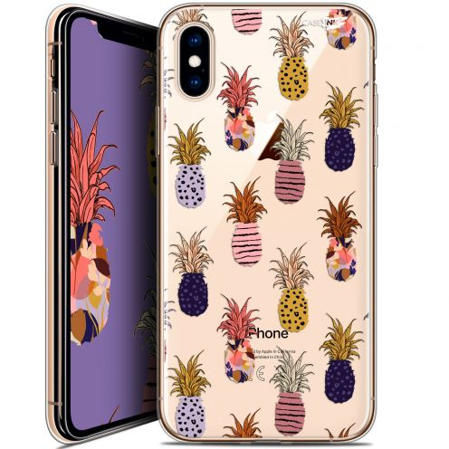 Carcasa Crystal Gel Extra Fina Apple iPhone X (10) Design Ananas Gold