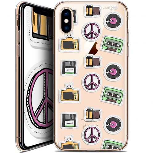 Carcasa Crystal Gel Extra Fina Apple iPhone X (10) Design Vintage Stickers