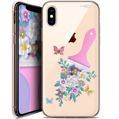 Carcasa Crystal Gel Extra Fina Apple iPhone X (10) Design Pinceau à Fleurs