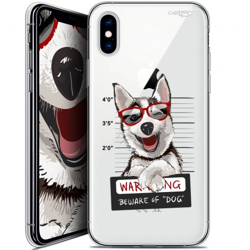 Carcasa Crystal Gel Extra Fina Apple iPhone X (10) Design Beware The Husky Dog